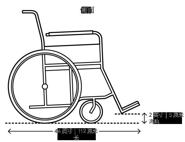 载人时最大轮椅尺寸为48英寸(123厘米)长,与地面之间的间隙至少2英寸(5厘米)。